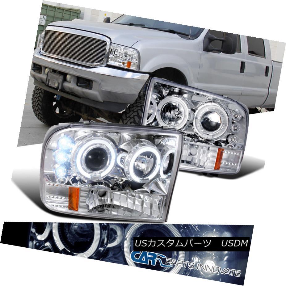 ヘッドライト 99-04 Ford F250 F350 F450 F550 Super Duty LED Halo Projector Headlights Clear 99-04 Ford F250 F350 F450 F550スーパーデューティLEDハロープロジェクターヘッドライトクリア