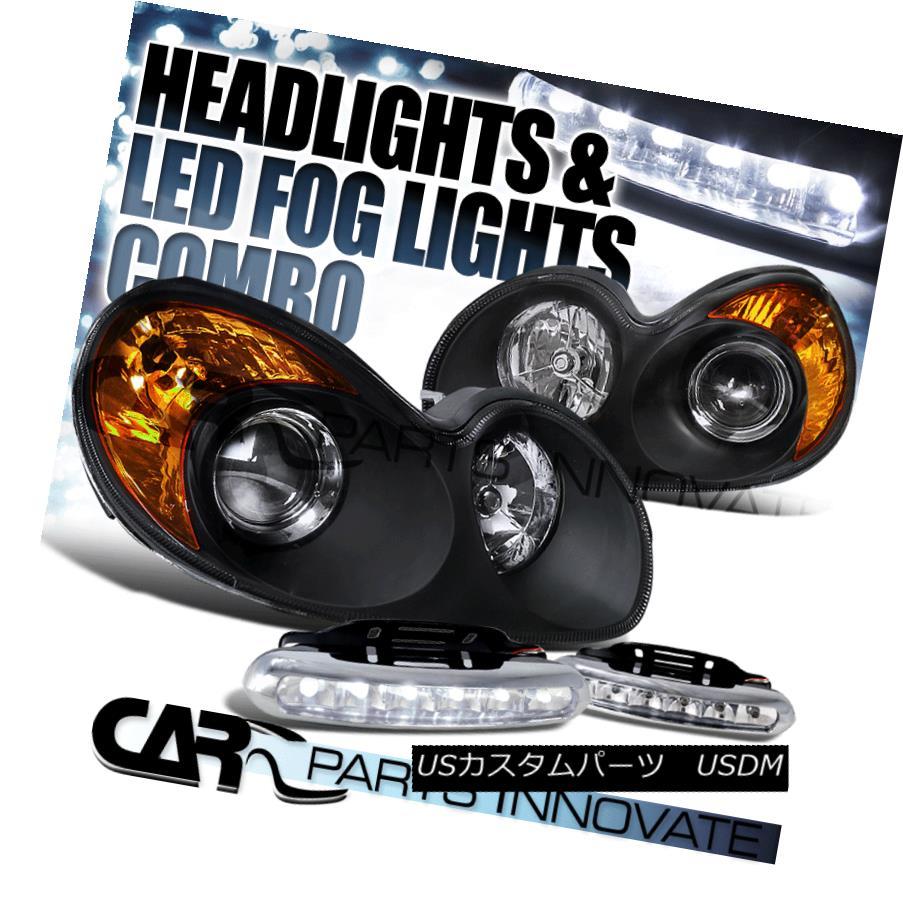 ヘッドライト Fit 2002-2005 Sonata Euro Black Projector Headlights+6-LED Bumper Fog Lamps Pair フィット2002-2005ソナタユーロブラックプロジェクターヘッドライト+ 6-L  EDバンパーフォグランプペア