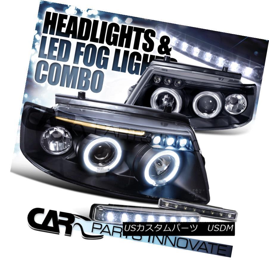 ヘッドライト Fit 97-00 VW Passat Black Dual Halo Projector Headlights+8-LED Fog Bumper Lamps フィット97-00 VWパサートブラックデュアルハロープロジェクターヘッドライト+ 8-L  EDフォグバンパーランプ