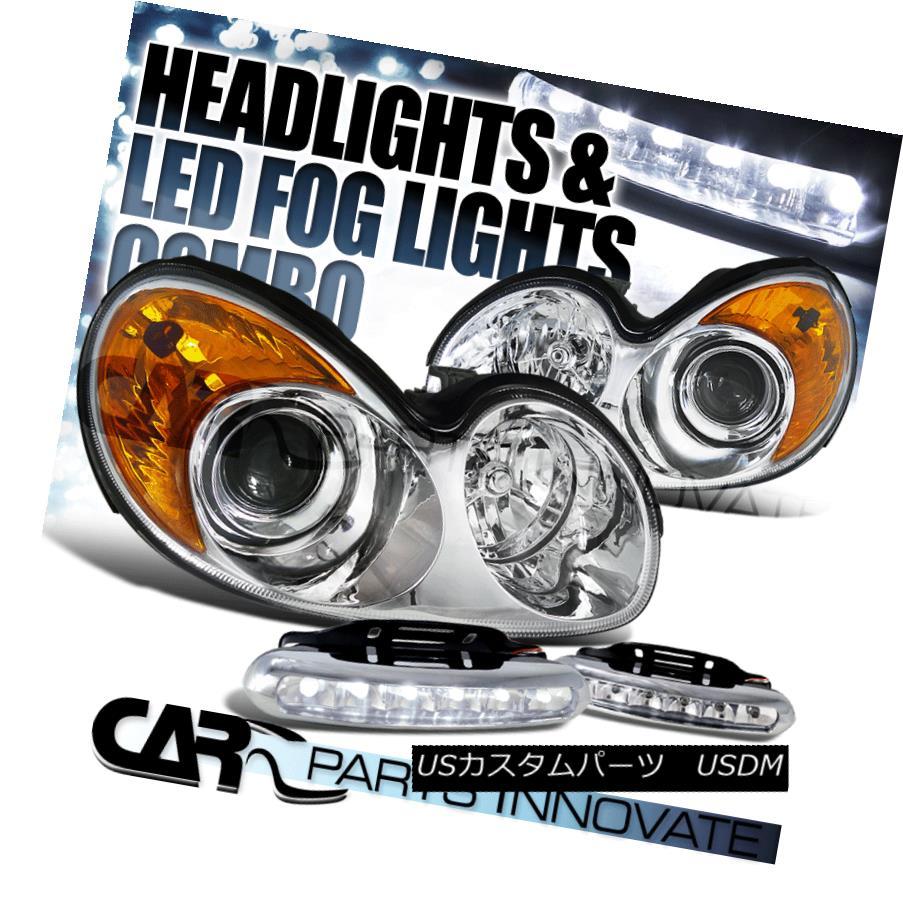 ヘッドライト Fit 02-05 Sonata Replacement Chrome Clear Projector Headlights+6-LED Fog Lamps フィット02-05ソナタ交換クロームクリアプロジェクターヘッドライト+ 6-L  EDフォグランプ
