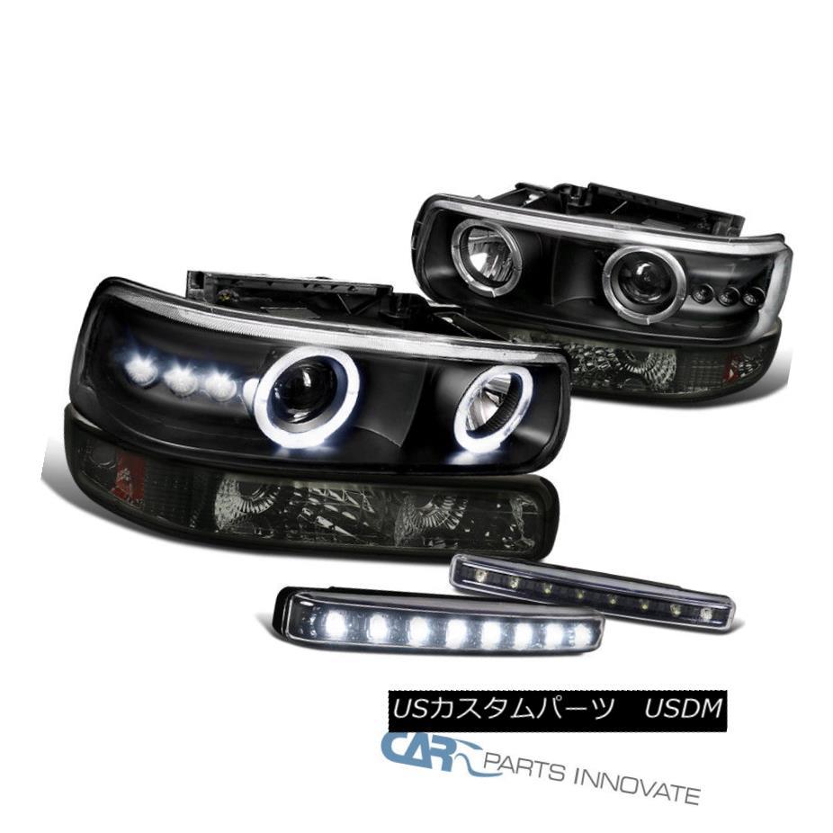 ヘッドライト 99-02 Silverado Tahoe Black Halo Projector Headlights+Smoke Bumper+LED Fog Lamp 99-02 Silverado Tahoe Black Haloプロジェクターヘッドライト+ Smo  keバンパー+ LEDフォグランプ