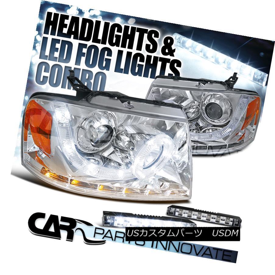 ヘッドライト 04-08 F150 06-08 Mark LT Chrome SMD Halo Projector Headlights+LED Signal+LED DRL 04-08 F150 06-08マークLTクロムSMDハロープロジェクターヘッドライト+ LED信号+ LED DRL