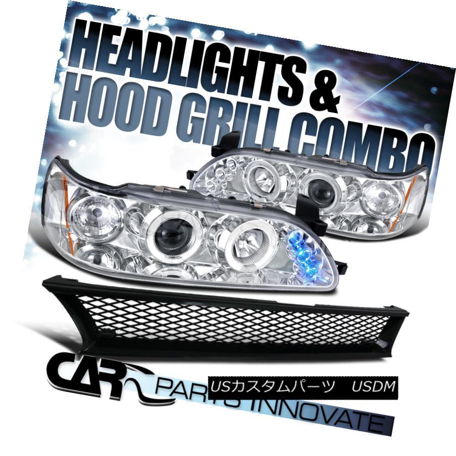 ヘッドライト For 93-97 Toyota Corolla Clear Halo LED Projector Headlights+Mesh Hood Grille 93-97トヨタカローラクリアハローLEDプロジェクターヘッドライト+メス hフードグリル