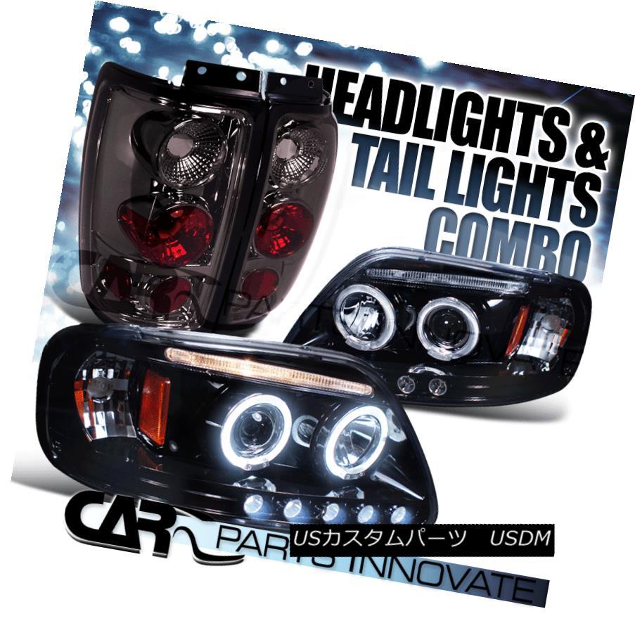 ヘッドライト Glossy Black 97-02 Ford Expedition Halo LED Projector Headlights+Smoke Tail Lamp Glossy Black 97-02 Ford Expedition Halo LEDプロジェクターヘッドライト+スモーキー keテールランプ