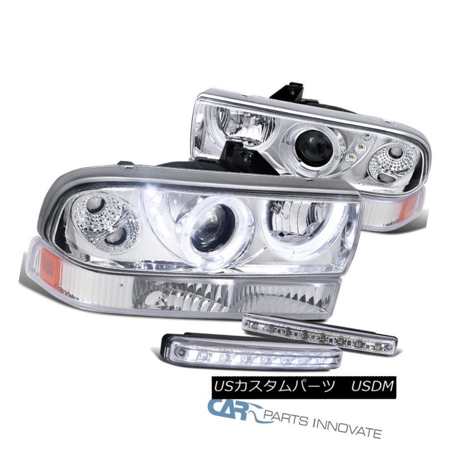 ヘッドライト 98-04 S10 Blazer Chrome Halo Projector Headlights+Bumper Lamps+8-LED Fog Lamps 98-04 S10ブレイザークロームハロープロジェクターヘッドライト+ブラム 、ランプ+ 8-LEDフォグランプ