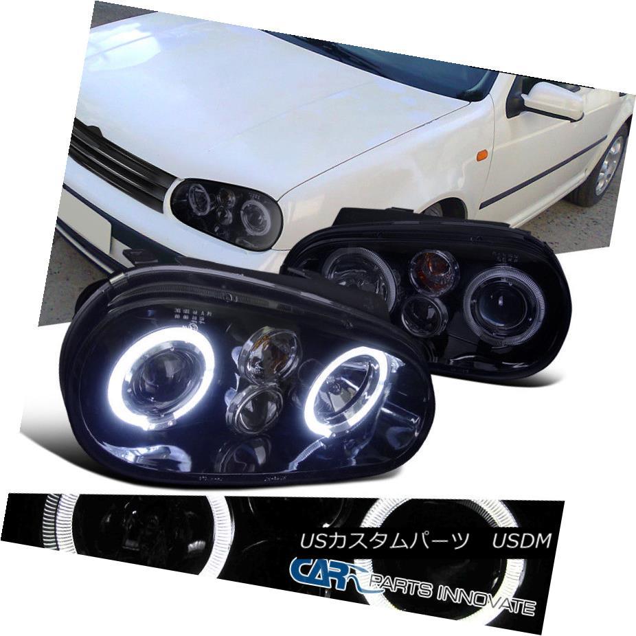 ヘッドライト New!! Glossy Black For 1999-2006 Golf GTI R32 Mk4 Smoke Halo Projector Headlight 新しい!! グロッシーブラック1999-2006ゴルフGTI R32 Mk4スモークハロープロジェクターヘッドライト
