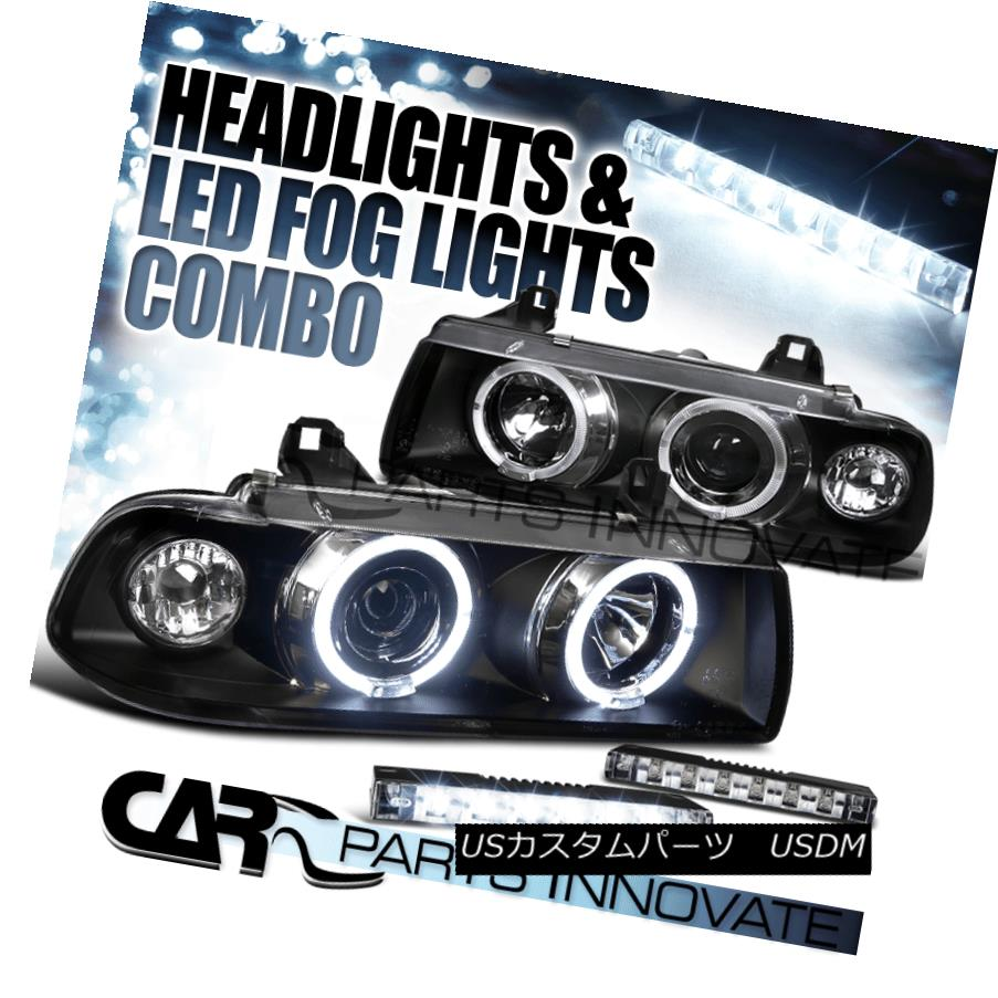 ヘッドライト 92-98 BMW E36 3-Series Black Dual Halo Projector Headlights+6-LED Fog Lamps 92-98 BMW E36 3シリーズブラックデュアルハロープロジェクターヘッドライト+ 6-L  EDフォグランプ