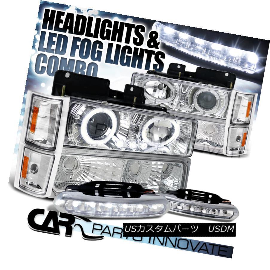 ヘッドライト 94-98 C10 C/K Chrome Halo Projector Headlight+Bumper Corner Lamp+6-LED Fog Lamps 94-98 C10 C / Kクロームハロープロジェクターヘッドライト+バンプ コーナーランプ+ 6-LEDフォグランプ