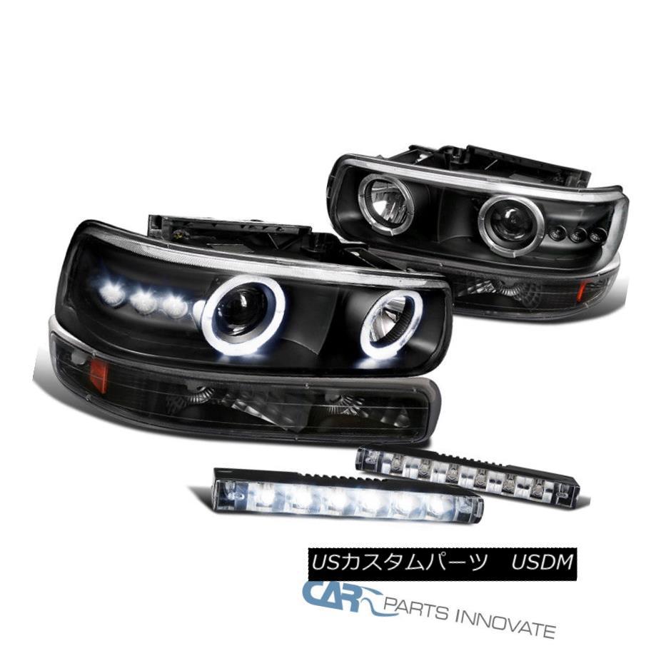 ヘッドライト 99-02 Silverado Halo Black Projector Headlights+Bumper Lamps+6-LED Fog Lights 99-02 Silverado Halo黒プロジェクターヘッドライト+バーン 、ランプ+ 6-LEDフォグライト
