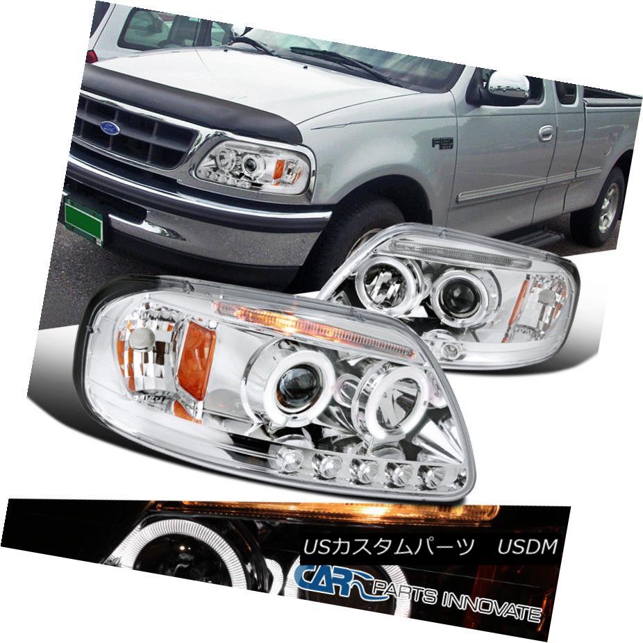 ヘッドライト Ford 97-03 F150 Expedition LED Halo Projector Headlights Lamp Chrome フォード97-03 F150遠征LEDハロープロジェクターヘッドライトランプクローム