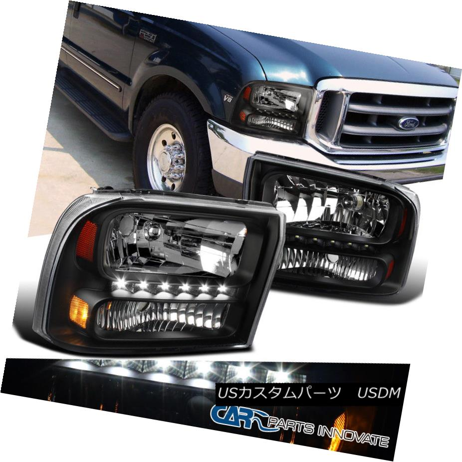 Ford 99-04 F250 F350 SuperDuty//Excursion Black Housing LED Replacment Headlight