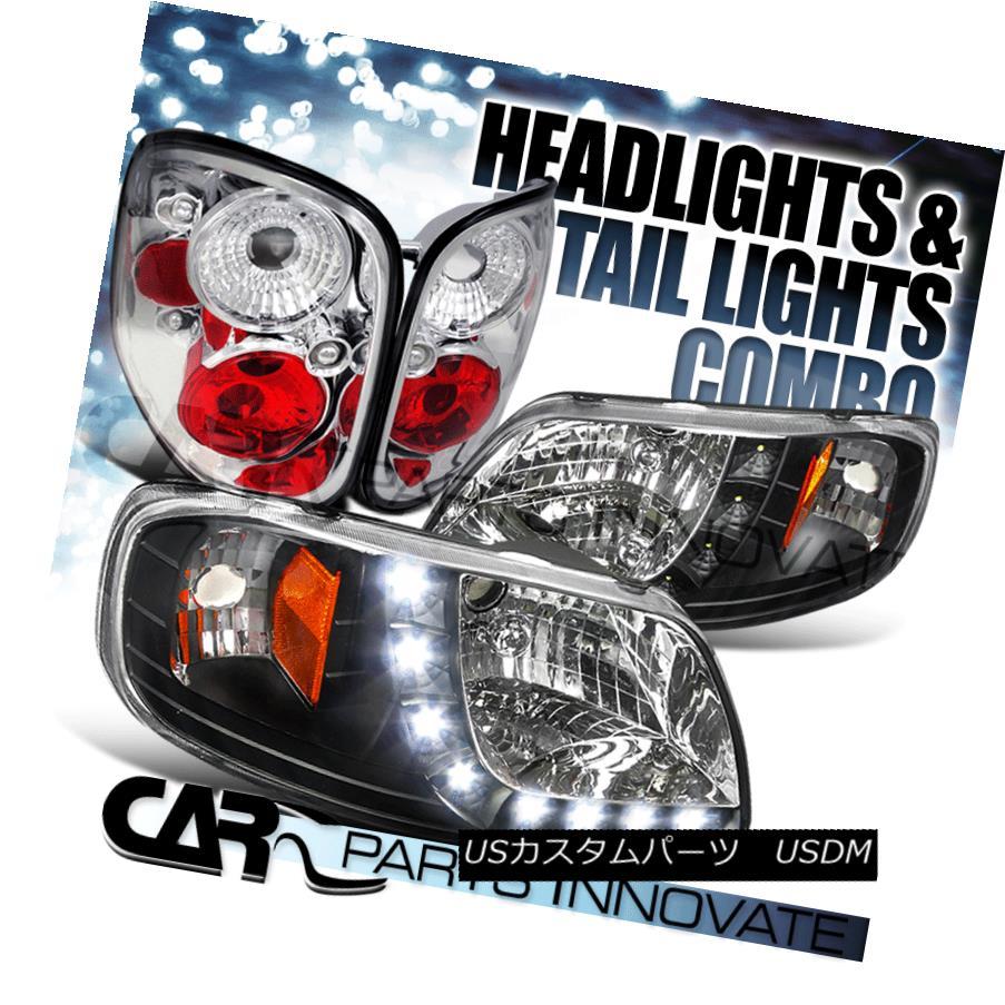 ヘッドライト 97-00 Ford F-150 Flareside SMD LED Strip DRL Black Headlights+Chrome Tail Lamps 97-00 Ford F-150 Flareside SMD LEDストリップDRLブラックヘッドライト+ Chr  omeテールランプ