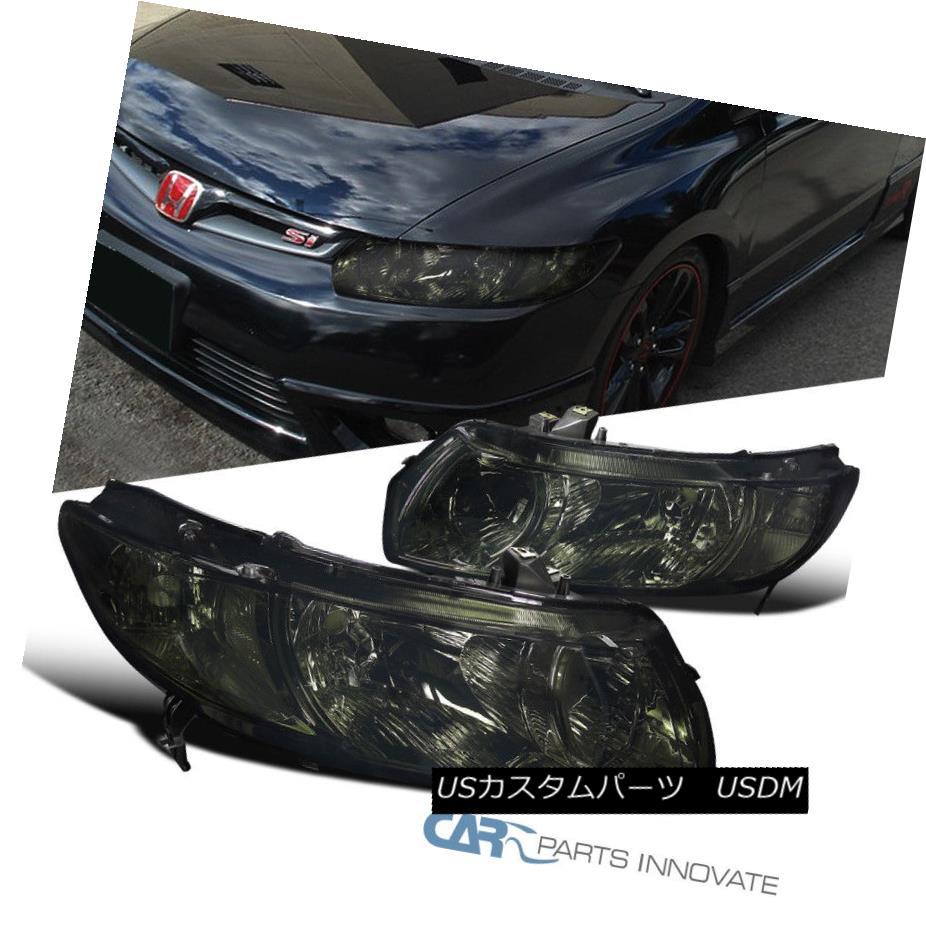 ヘッドライト For 2006-2011 Honda Civic 2Dr Coupe Smoke Headlights Driving Lamps Left+Right 2006年から2011年までホンダシビック2Drクーペ煙のヘッドライト