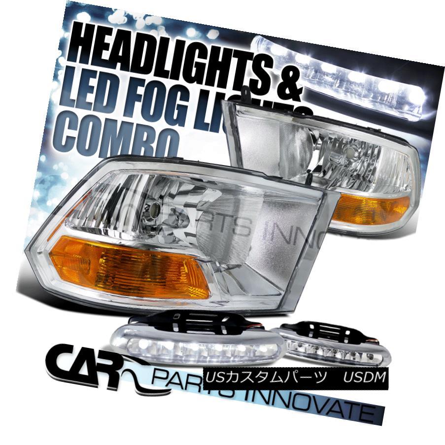 ヘッドライト 09-17 Dodge Ram 1500 2500 3500 Crystal Chrome Headlights Lamp+LED Fog Bumper DRL 09-17 Dodge Ram 1500 2500 3500クリスタルクロームヘッドライトランプ+ LEDフォグバンパーDRL