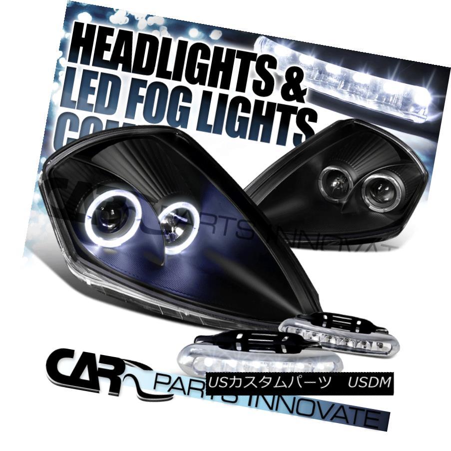 ヘッドライト 00-05 Eclipse JDM Black Dual Halo Projector Headlights+6-LED Fog Lamps 00-05 Eclipse JDMブラックデュアルハロープロジェクターヘッドライト+ 6-L  EDフォグランプ