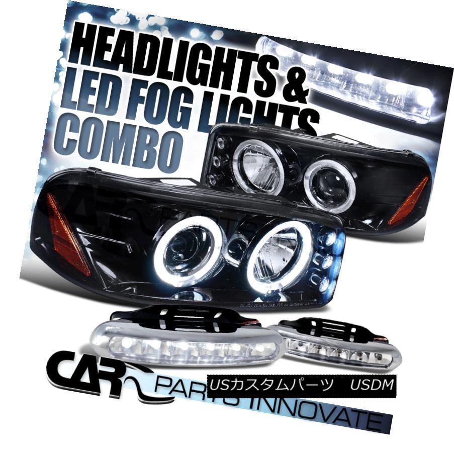 ヘッドライト Glossy Black 00-06 Sierra Yukon XL Denali LED Projector Headlight+6-LED Fog Lamp Glossy Black 00-06 Sierra Yukon XLデナリLEDプロジェクターヘッドライト+ 6-LE  Dフォグランプ