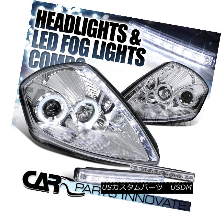 ヘッドライト 00-05 Eclipse SMD DRL Chrome Halo Projector Headlights+8-LED Fog Lamps 00-05 Eclipse SMD DRLクロームハロープロジェクターヘッドライト+ 8-L  EDフォグランプ