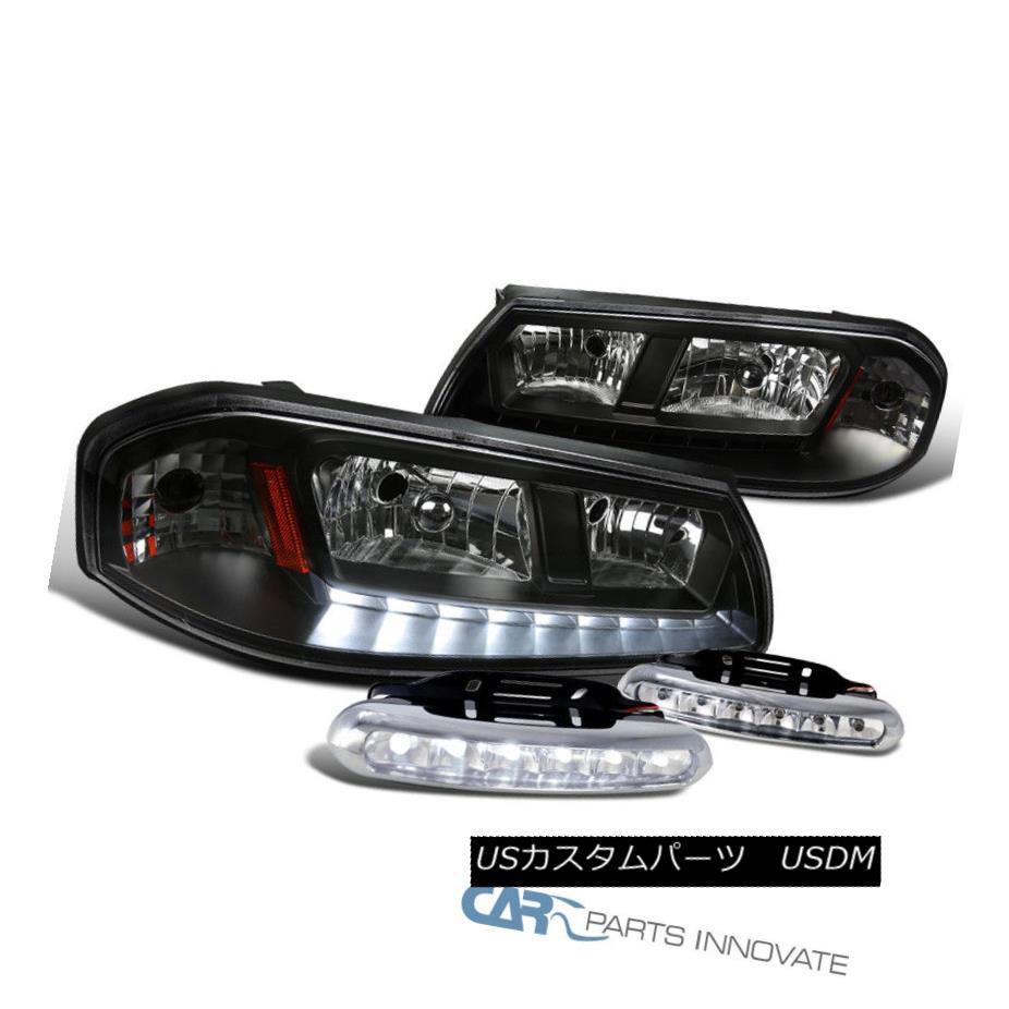 ヘッドライト 00-05 Chevy Impala Black LED DRL Headlights Headlamps+Clear 6-LED Fog Lights 00-05シェビー・インパラ・ブラックLED DRLヘッドライトヘッドライト+クリーア r 6-LEDフォグ・ライト