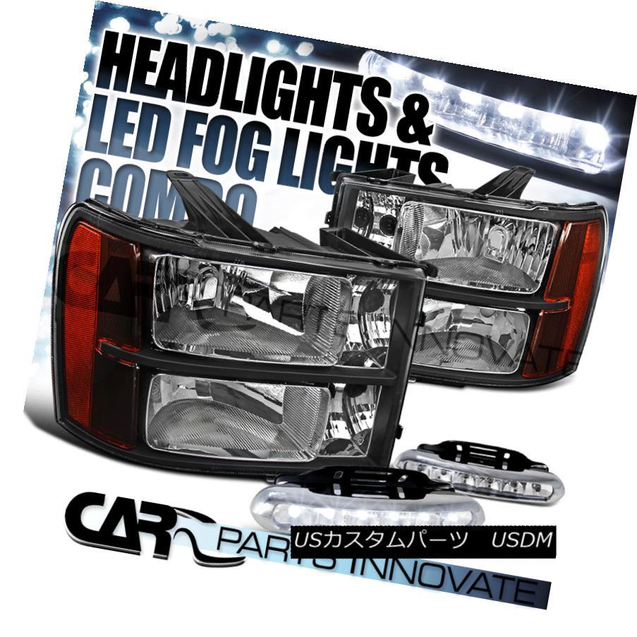 ヘッドライト 2007-2013 GMC Sierra Amber Black Replacement Headlights+LED Fog Bumper DRL 2007-2013 GMC Sierraアンバーブラック交換ヘッドライト+ LEDフォグバンパーDRL