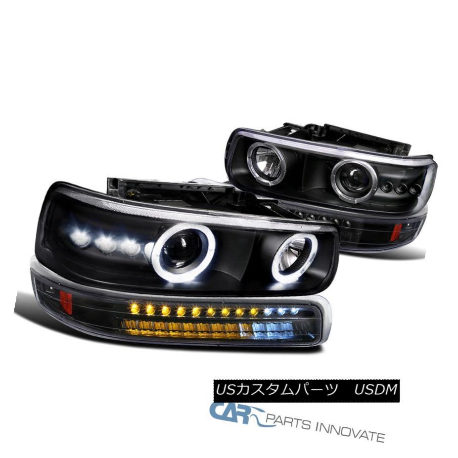 ヘッドライト 99-02 Silverado 00-06 Suburban Tahoe Black Projector Headlights+LED Bumper Lamps 99-02 Silverado 00-06郊外のタホー・ブラック・プロジェクター・ヘッドライト+ LEDバンパー・ランプ