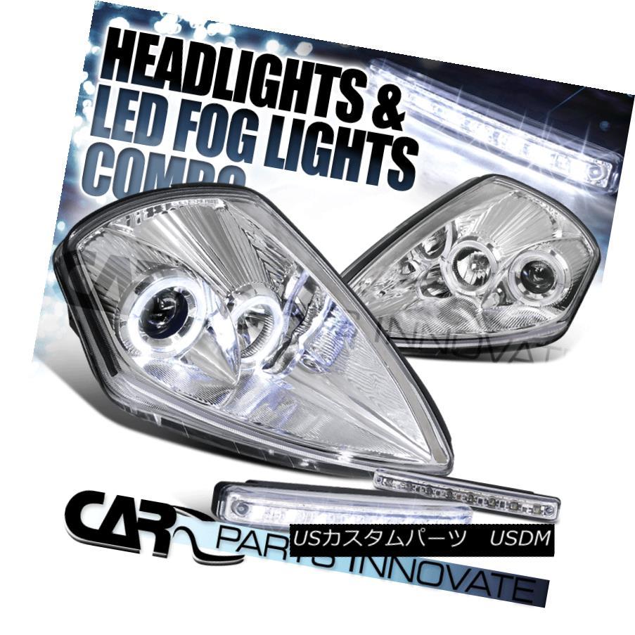 ヘッドライト Mitsubishi 00-05 Eclipse Chrome Halo Projector Headlights+8-LED Fog Lamps 三菱00-05 Eclipseクロームハロープロジェクターヘッドライト+ 8-L  EDフォグランプ