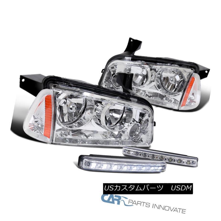 ヘッドライト 06-10 Dodge Charger Clear Headlights+Corner Signal Lamps+8-LED Fog Bumper Lights 06-10ダッジ・チャージャー・クリア・ヘッドライト+ Cor  ner信号ランプ+ 8-LEDフォグ・バンパー・ライト