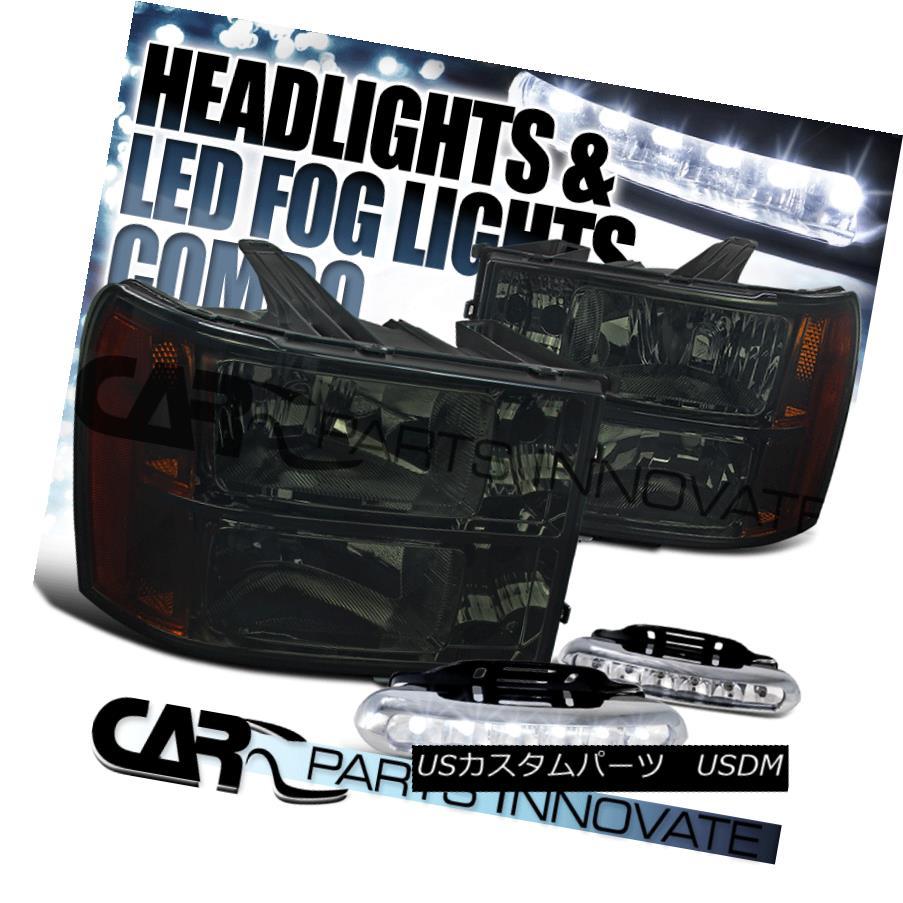 ヘッドライト 2007-2013 GMC Sierra Amber Smoke Replacement Headlights+LED Fog Bumper DRL 2007-2013 GMC Sierraアンバー煙の交換ヘッドライト+ LEDフォグバンパーDRL