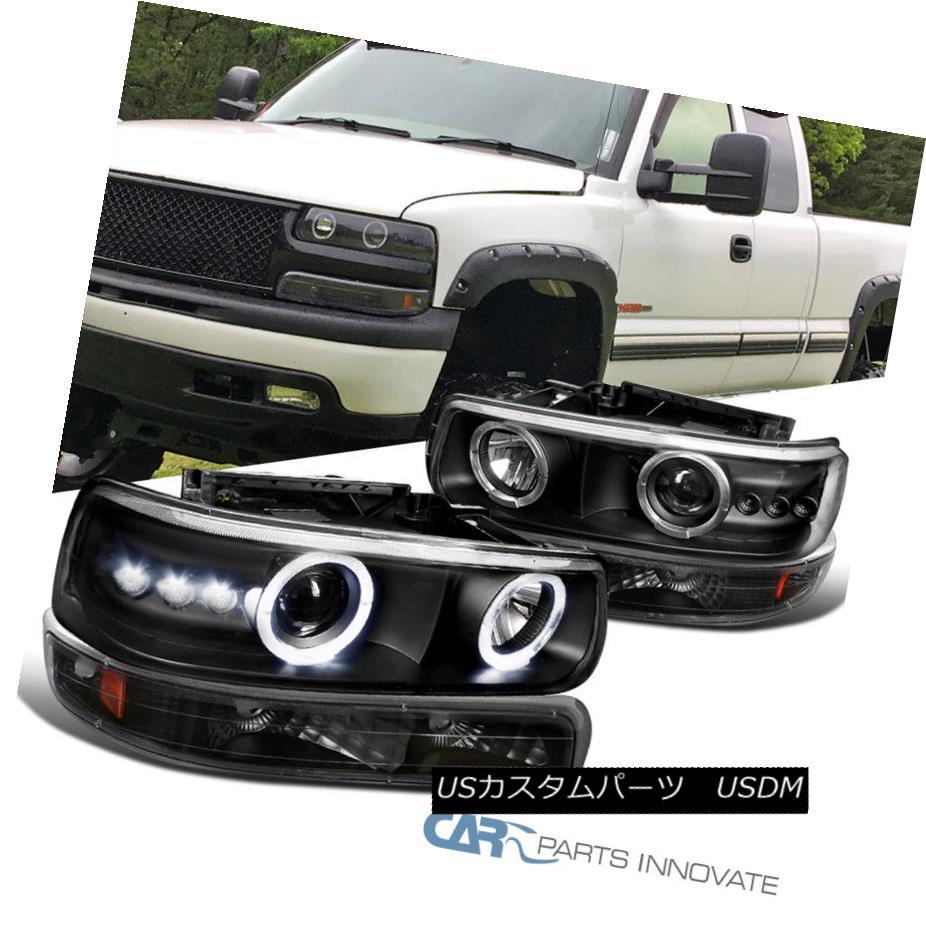 ヘッドライト 99-02 Silverado 00-06 Tahoe Suburban Black Halo Projector Headlights+Bumper Lamp 99-02 Silverado 00-06 Tahoe郊外のブラックハロープロジェクターヘッドライト+ブーケ