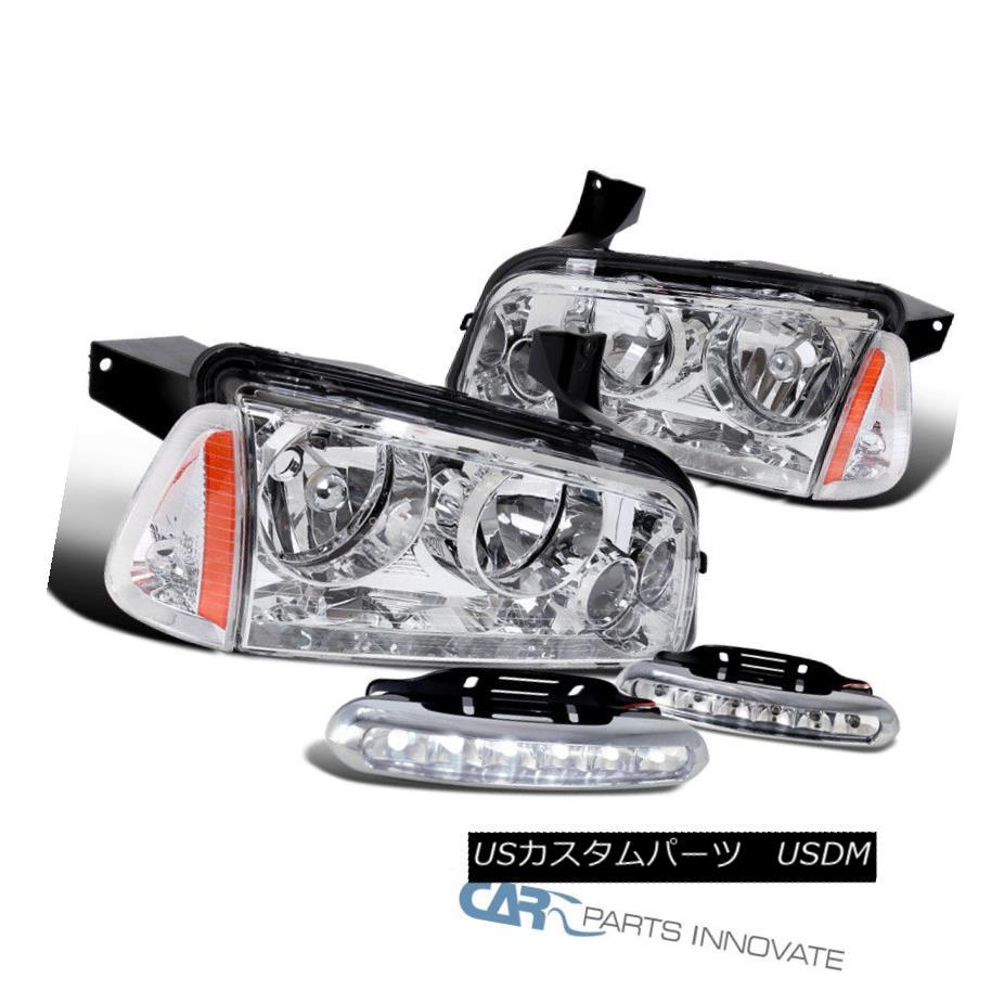 ヘッドライト 06-10 Dodge Charger Clear Lens Headlights+Corner Signal Lamps+LED DRL Fog Lights 06-10 Dodge Chargerクリアレンズヘッドライト+ Cor  ner信号ランプ+ LED DRLフォグライト