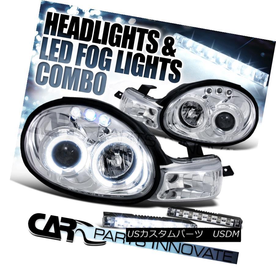 ヘッドライト Dodge Plymouth 00-02 Neon Chrome Twin Halo Projector Headlights+6-LED Fog Lamps ドッジプリマス00-02ネオンクロームツインハロープロジェクターヘッドライト+ 6-L  EDフォグランプ
