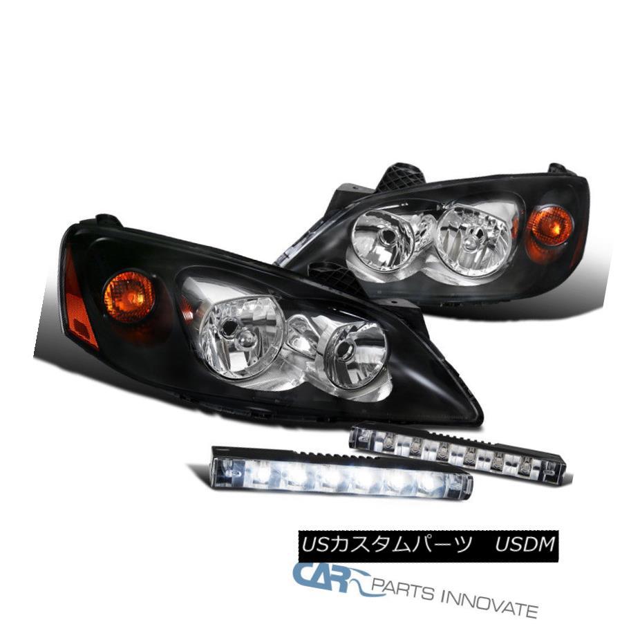 ヘッドライト Black Pontiac 05-10 G6 Replacement Headlights+LED DRL Fog Lights Bumper Lamps ブラックポンティアック05-10 G6交換用ヘッドライト+ LED DRLフォグライトバンパーランプ