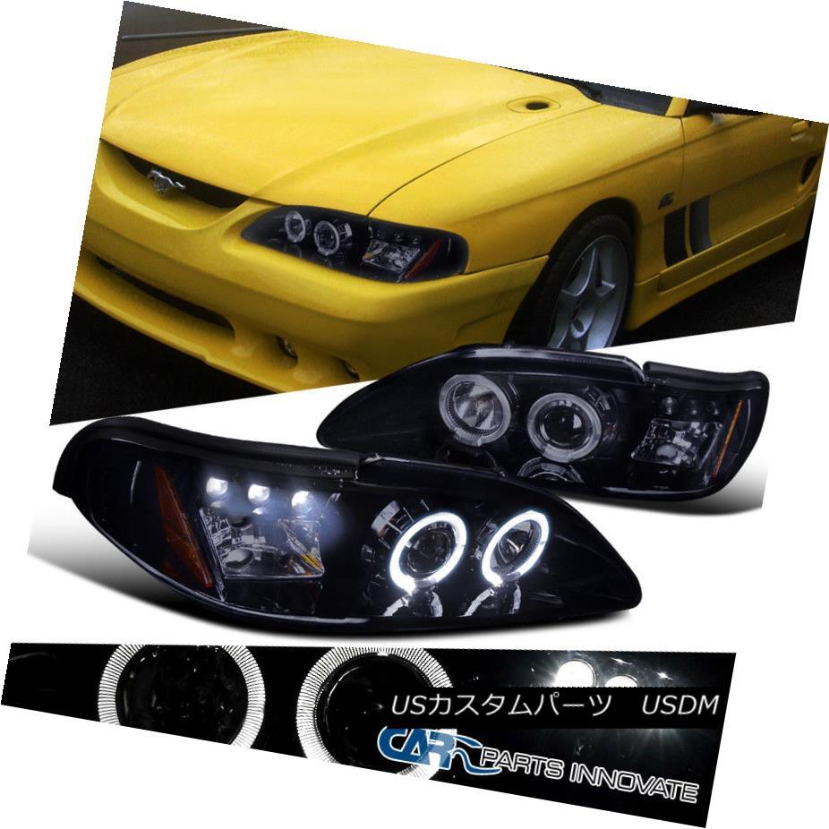 ヘッドライト Glossy Piano Black Ford 94-98 Mustang Replacement LED Projector Headlights Lamps 光沢のあるピアノブラックフォード94-98マグナス交換用LEDプロジェクターヘッドライトランプ