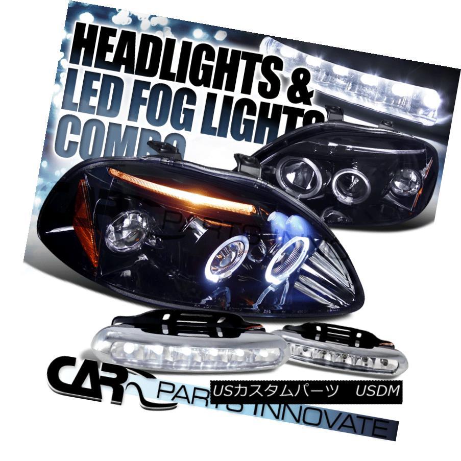 ヘッドライト Glossy Black Fit 96-98 Civic Smoke LED Projector Headlights+6-LED DRL Fog Lamps 光沢ブラックフィット96-98シビックスモークLEDプロジェクターヘッドライト+ 6-L  ED DRLフォグランプ