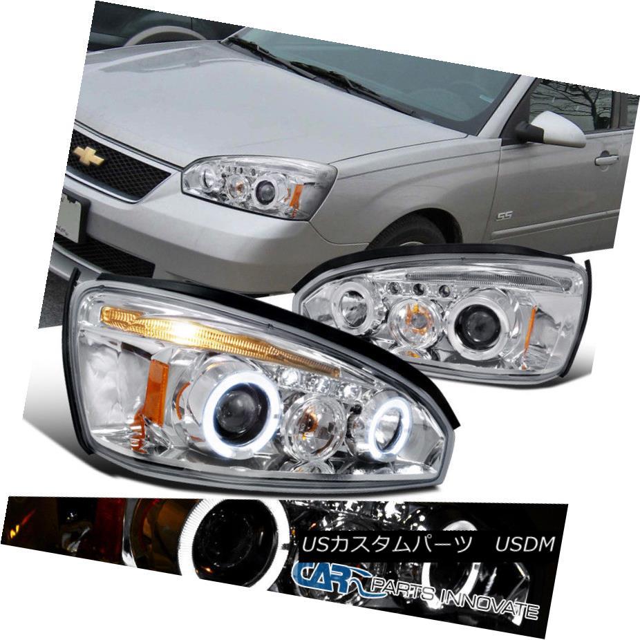 ヘッドライト 2004-2007 Chevy Malibu LS LT Chrome Clear LED Halo Projector Headlights Lamps 2004-2007シボレーマリブLS LTクロームクリアLEDハロープロジェクターヘッドライトランプ