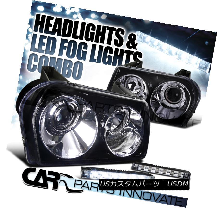 ヘッドライト Glossy Black 05-10 Chrysler 300 Projector Headlights+6-LED Bumper Fog Lamps Glossy Black 05-10クライスラー300プロジェクターヘッドライト+ 6-L  EDバンパーフォグランプ