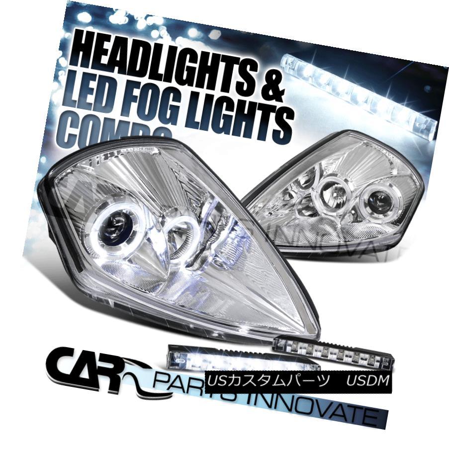 ヘッドライト 00-05 Eclipse Chrome Dual Halo Projector Headlights+6-LED Bumper Fog Lamps 00-05 Eclipseクロームデュアルハロープロジェクターヘッドライト+ 6-L  EDバンパーフォグランプ