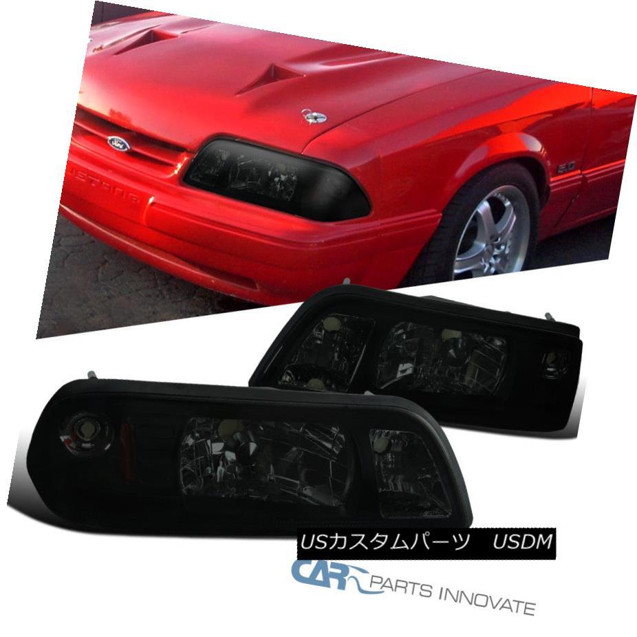 ヘッドライト Ford 87-93 Mustang Replacement Smoke Euro 1-Piece Style Headlights Head Lamps フォード87-93マスタング交換煙ユーロワンピーススタイルのヘッドライトヘッドランプ
