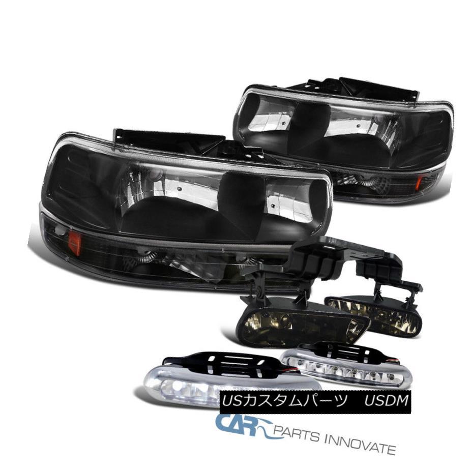 ヘッドライト Chevy 99-02 Silverado Black Headlight+Bumper Lamps+Smoke Fog Lights+6-LED DRL シボレー99-02 Silveradoブラックヘッドライト+バンプ erランプ+スモークフォグライト+ 6-LED DRL
