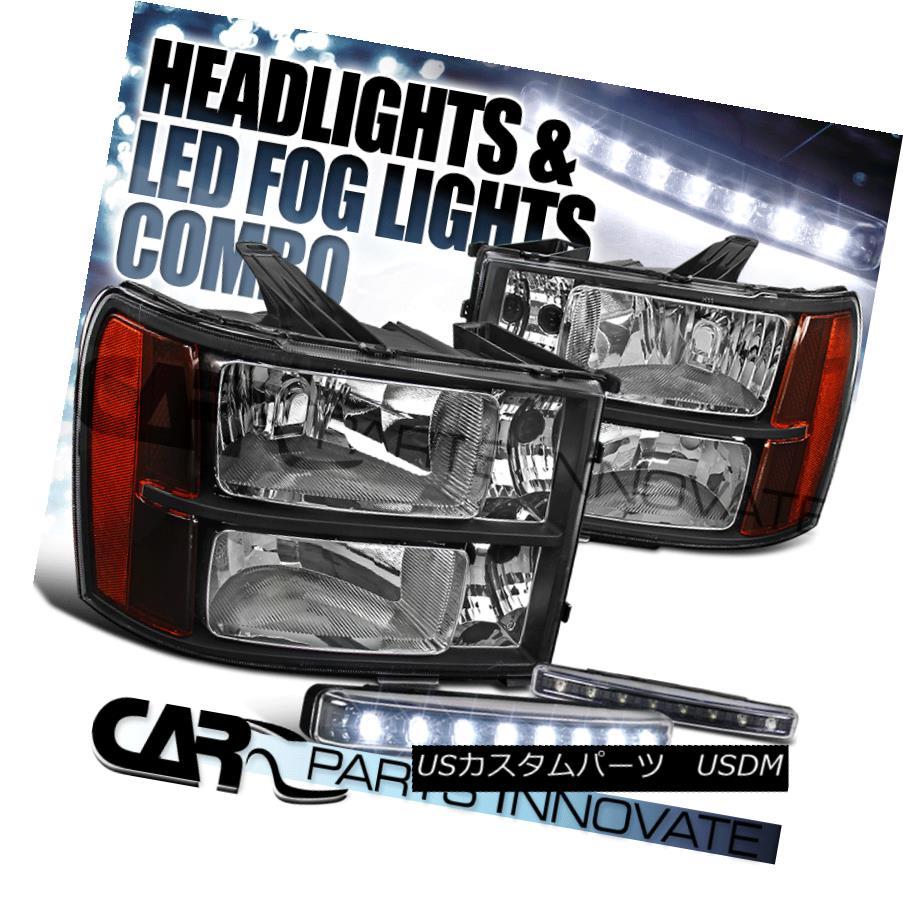 ヘッドライト 2007-2013 GMC Sierra Amber Black Replacement Headlights+8-LED Fog Lamps 2007-2013 GMC Sierraアンバーブラック交換ヘッドライト+ 8-L  EDフォグランプ
