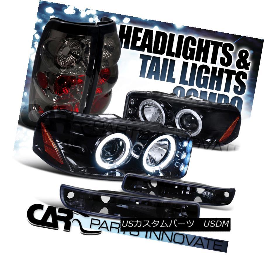 ヘッドライト 99-03 Sierra Fleetside Glossy Black Projector Headlights+Bumper+Smoke Tail Lamp 99-03 Sierra Fleetside光沢のある黒プロジェクターヘッドライト+ブーム +煙テールランプ