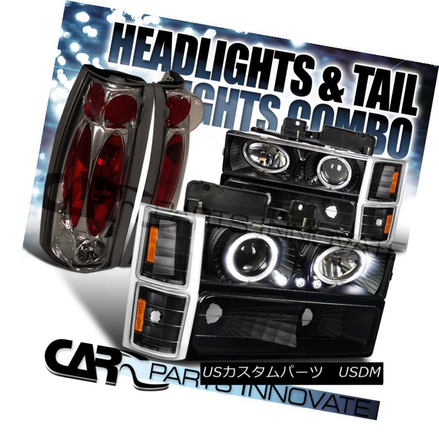 ヘッドライト 94-98 Chevy C10 C/K Tahoe Black LED Halo Projector Headlights+Smoke Tail Lamps 94-98シボレーC10 C / KタホブラックLEDハロープロジェクターヘッドライト+スモーク keテールランプ