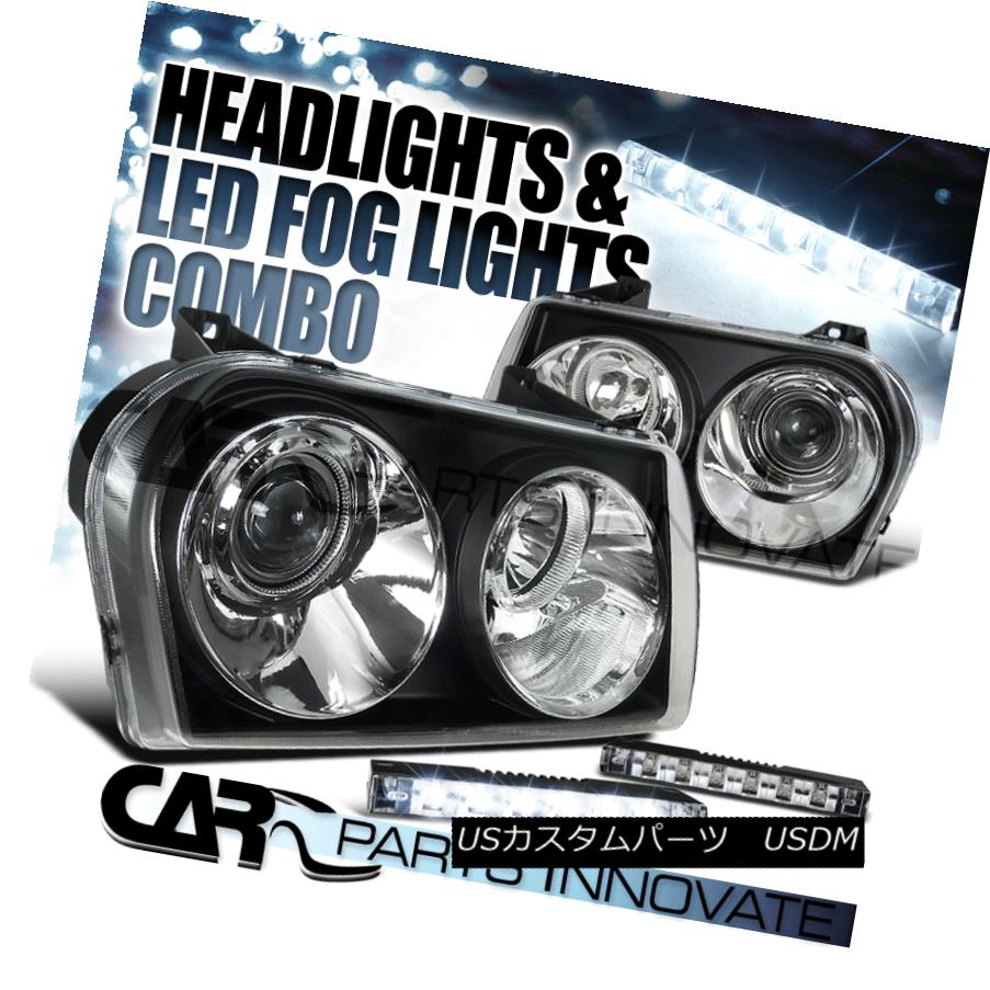 ヘッドライト Chrysler 05-10 300 Euro Crystal Black Headlights+6-LED Bumper Fog Lamps クライスラー05-10 300ユーロクリスタルブラックヘッドライト+ 6-L  EDバンパーフォグランプ