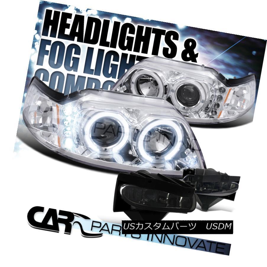 ヘッドライト 99-04 Mustang Clear LED Halo Projector Headlights+Smoke Bumper Fog Driving Lamp 99-04ムスタングクリアLEDハロープロジェクターヘッドライト+スモール keバンパーフォグ駆動ランプ