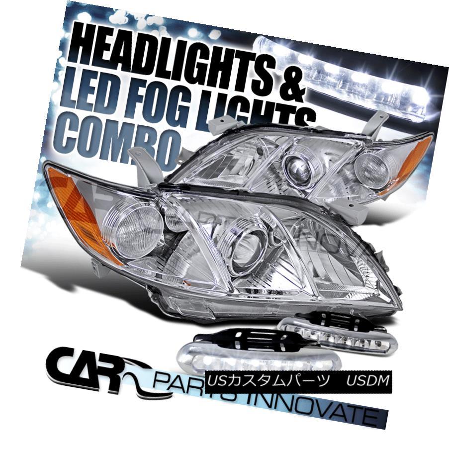 ヘッドライト Fit 07-09 Toyota Camry CE LE SE Clear Projector Headlights+LED Fog Bumper DRL フィット07-09トヨタカムリCE LE SEクリアプロジェクターヘッドライト+ LEDフォグバンパーDRL