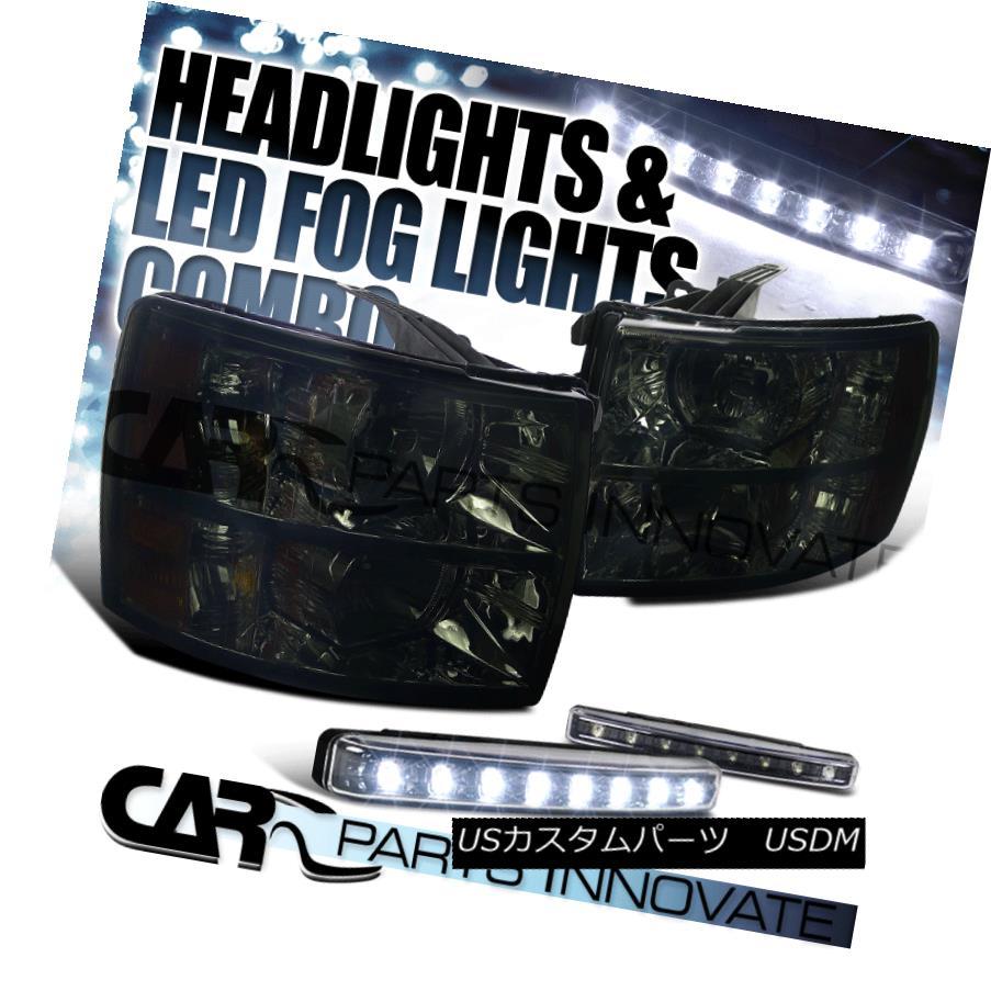 ヘッドライト 07-14 Silverado 1500 2500 3500 Crystal Headlights Smoke+8-LED Bumper Fog Lamp 07-14 Silverado 1500 2500 3500クリスタルヘッドライトスモーク+ 8 LEDバンパーフォグランプ