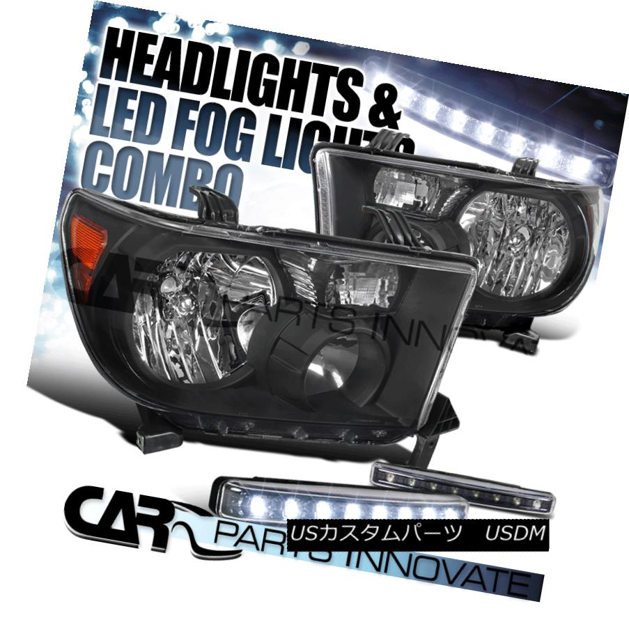 ヘッドライト For Toyota 07-13 Tundra 08-14 Sequoia Black Headlights+8-LED Fog Bumper Lights トヨタ用07-13トンドラ08-14セコイアブラックヘッドライト+ 8-L  EDフォグバンパーライト