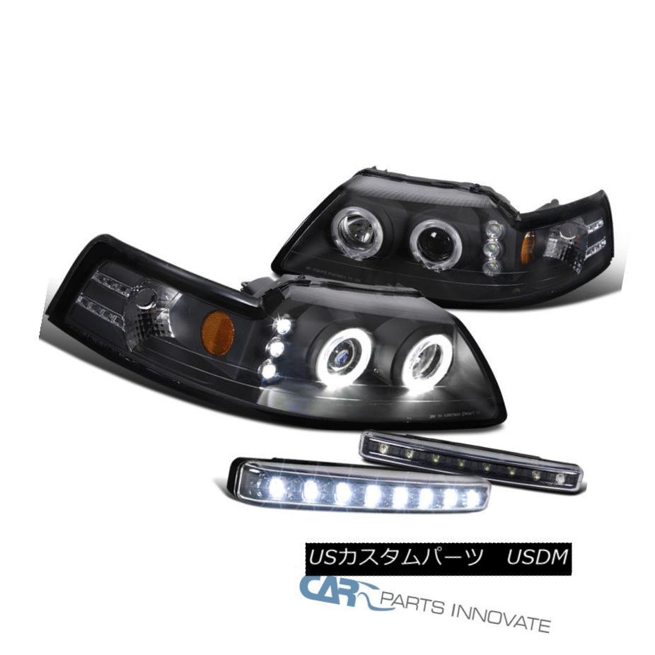 ヘッドライト Ford 99-04 Mustang Black Halo Projector Headlights+8-LED Fog Lamps Bumper Lights フォード99-04ムスタングブラックハロープロジェクターヘッドライト+ 8-L  EDフォグランプバンパーライト