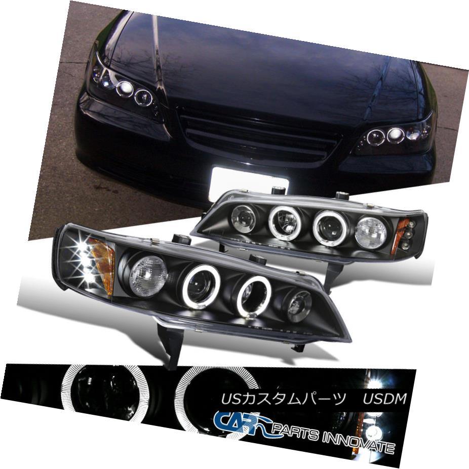 ヘッドライト Fit Honda 94-97 Accord 2/4Dr Black LED Halo Projector Headlights Head Lamps Pair フィットホンダ94-97アコード2 / 4DrブラックLEDハロープロジェクターヘッドライトヘッドランプペア