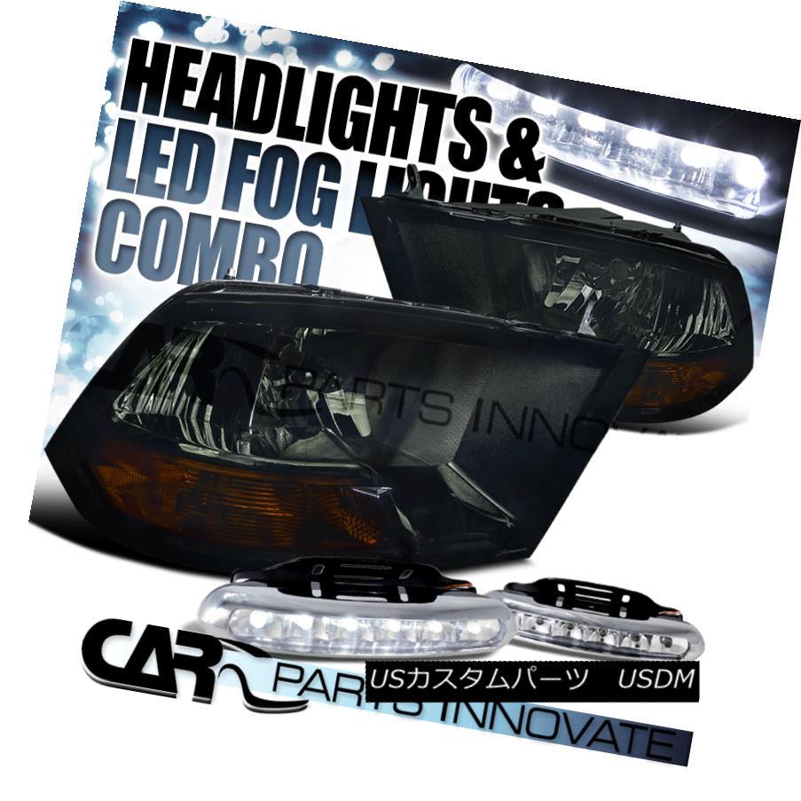 ヘッドライト 09-17 Dodge Ram 1500 2500 3500 Euro Smoke Headlights+6-LED Fog Lamps 09-17 Dodge Ram 1500 2500 3500 Euroスモークヘッドライト+ 6-L  EDフォグランプ