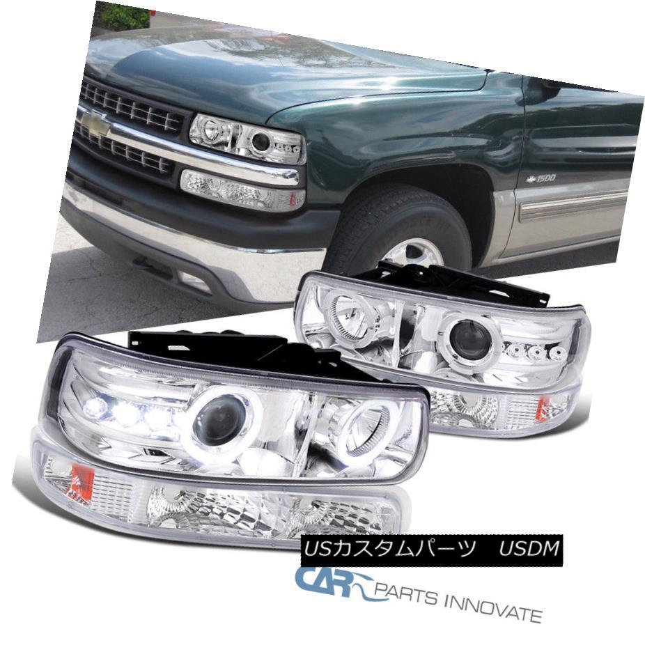 ヘッドライト 99-02 Silverado 00-02 Tahoe Suburban Halo LED Projector Headlights+Bumper Lamps 99-02 Silverado 00-02 Tahoe郊外のHalo LEDプロジェクターヘッドライト+ Bum  /ランプ